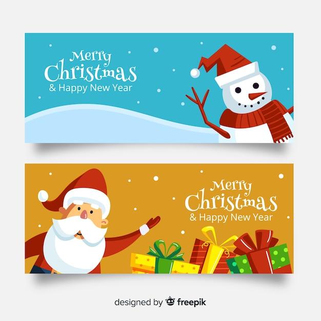 Nette weihnachtsfahne stellte mit weihnachtsmann und schneemann im flachen design ein Kostenlosen Vektoren
