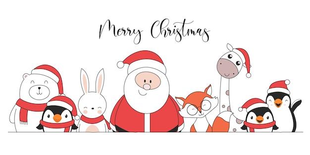 Nette weihnachtsfiguren pinguine weihnachtsmann giraffe kaninchen eisbär und fuchs Kostenlosen Vektoren