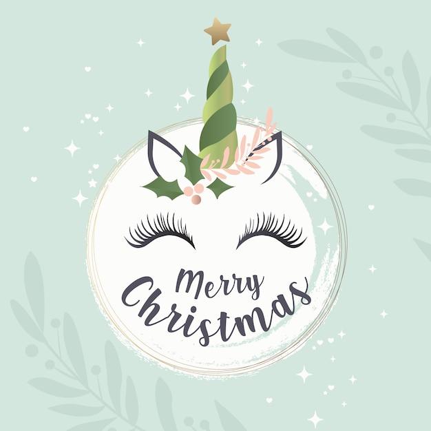 Nette weihnachtsgrußkarte mit einem einhorngesicht Premium Vektoren
