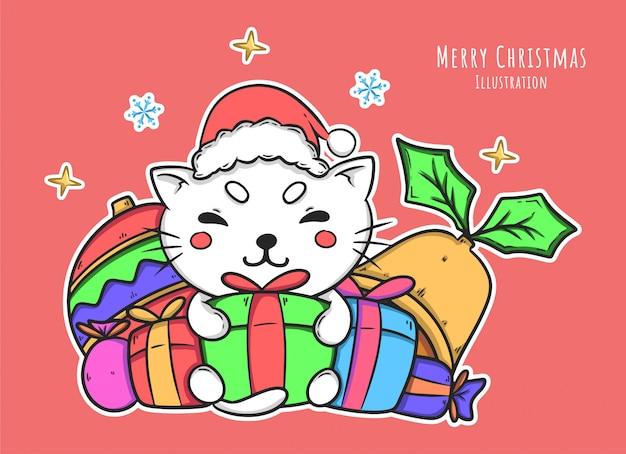Nette weihnachtshand gezeichnete abbildung Premium Vektoren