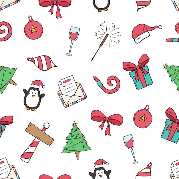 Nette weihnachtsikonen im nahtlosen muster mit farbiger hand gezeichneter art Premium Vektoren