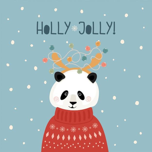Nette weihnachtskarte mit panda in der strickjacke mit hörnern und girlande in der flachen art Premium Vektoren