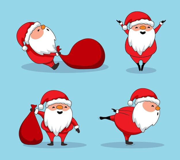 Nette weihnachtsmann-karikatur frohe weihnachten Premium Vektoren