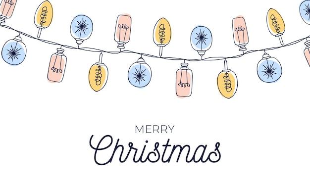 Nette weinlese-weihnachtskarte mit handgezeichnetem glühbirnengirlandenhintergrund. Premium Vektoren