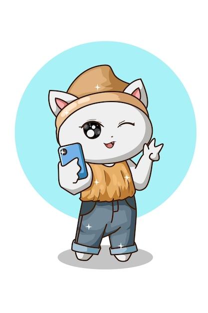 Nette weiße katze, die selfie tut Premium Vektoren
