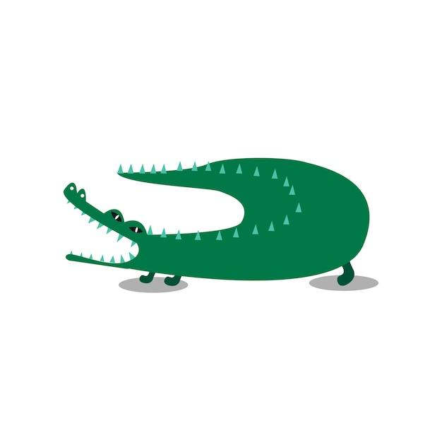 Nette wiid krokodilkarikaturillustration Kostenlosen Vektoren