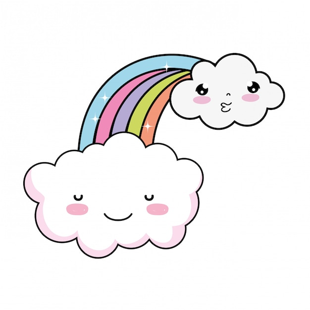 Nette wolke mit regenbogen-kawaii-zeichen Premium Vektoren