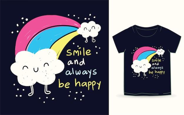 Nette wolken- und regenbogenhand gezeichnet für t-shirt Premium Vektoren