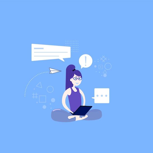 Nette yoga- und meditationsillustration in der flachen art Premium Vektoren