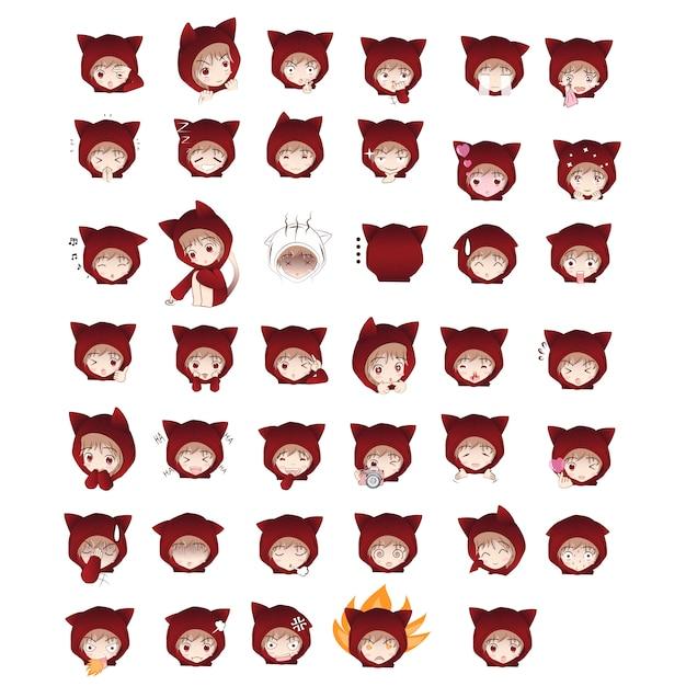 Nette zeichentrickfigur der katzenhaube in den aktionen Premium Vektoren
