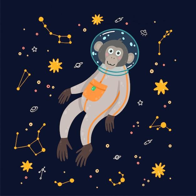 Netter affe im raum. affe im kosmos, umgeben von sternen. Premium Vektoren