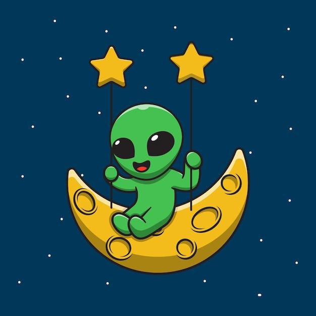 Netter alien, der schaukel auf mondkarikaturillustration spielt Premium Vektoren