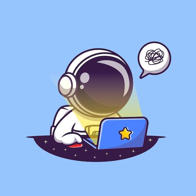 Netter astronaut, der an laptop-cartoon-illustration arbeitet. wissenschaft technologie konzept. flacher cartoon-stil Premium Vektoren