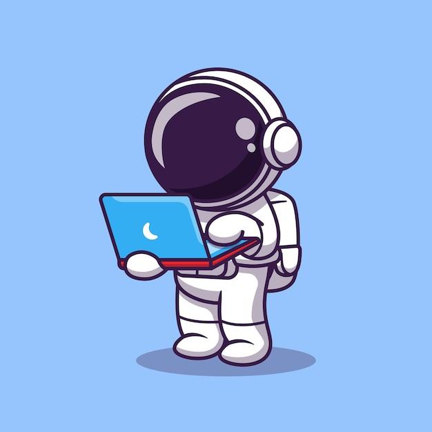 Netter astronaut, der an laptop-cartoon-vektor-symbol-illustration arbeitet. science technology icon Premium Vektoren