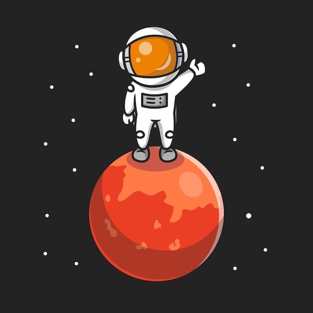Netter astronaut, der auf planet cartoon icon illustration steht. Kostenlosen Vektoren