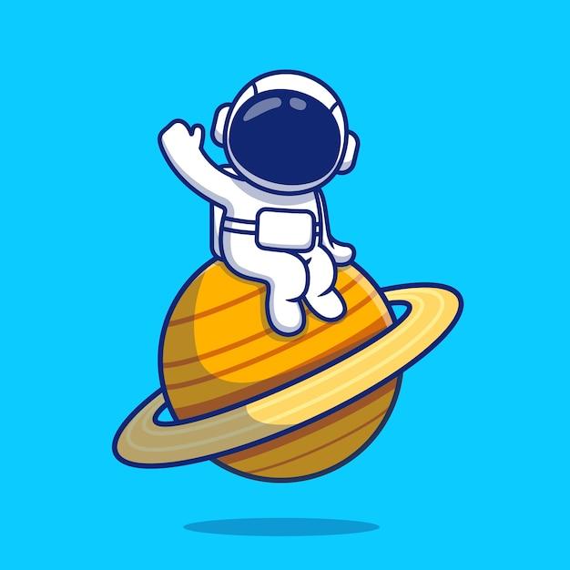 Netter astronaut, der auf planet winken hand hand cartoon illustration sitzt. raumikonen-konzept Premium Vektoren