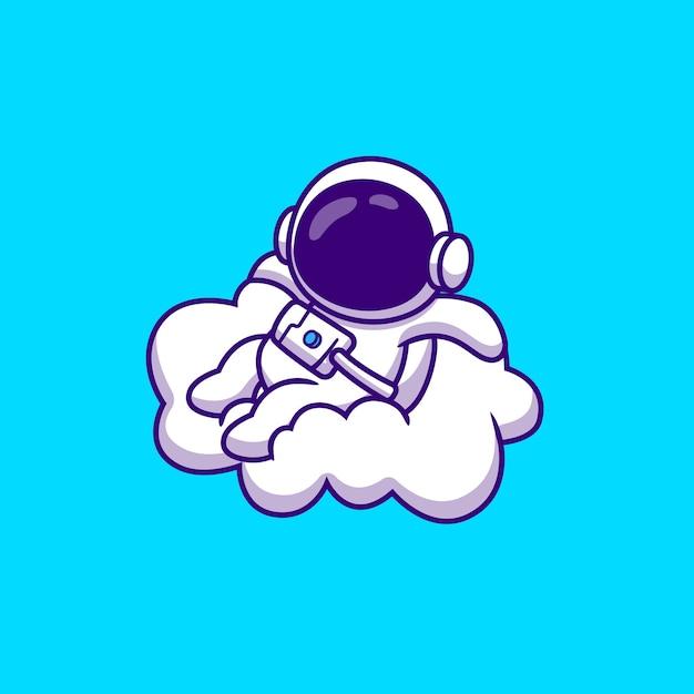 Netter astronaut, der auf wolken-karikatur-vektor-illustration sitzt. wissenschaftlicher technologie-konzept-isolierter premium-vektor. flacher cartoon-stil Kostenlosen Vektoren