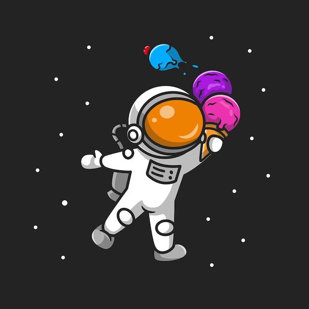 Netter astronaut, der eistüte-karikatur hält Kostenlosen Vektoren