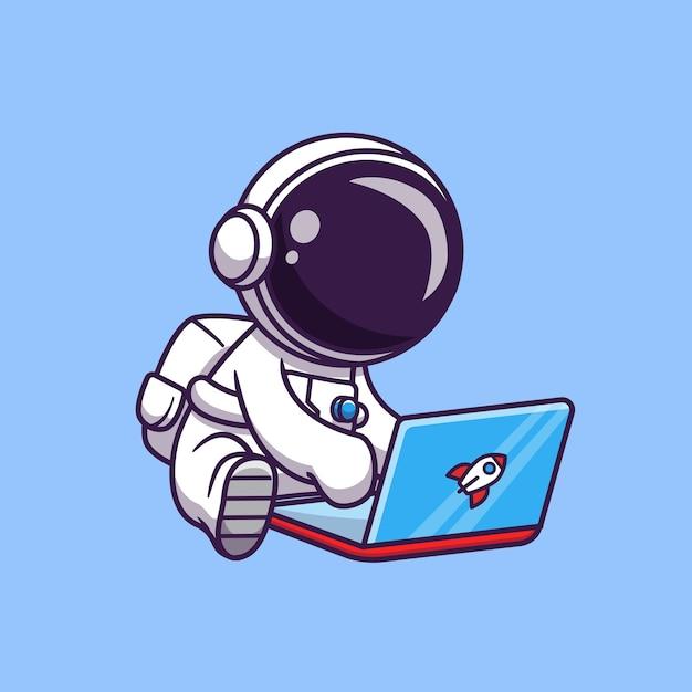 Netter astronaut, der laptop-cartoon-vektor-symbol-illustration spielt. science technology icon Premium Vektoren