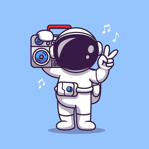 Netter astronaut, der musik mit boombox cartoon icon illustration hört. science technology icon concept Kostenlosen Vektoren