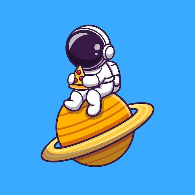 Netter astronaut, der pizza auf dem planeten cartoon isst Kostenlosen Vektoren