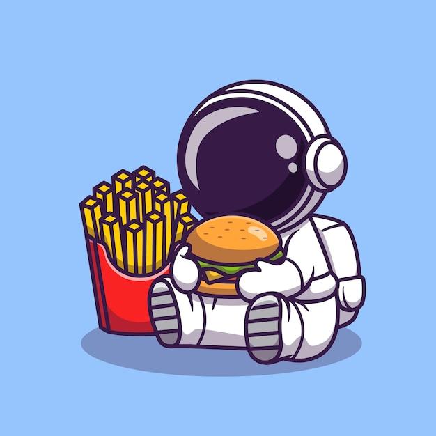Netter astronaut essen burger mit pommes frites cartoon illustration. science food icon konzept. flacher cartoon-stil Premium Vektoren