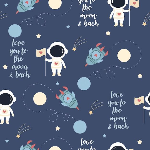 Netter astronaut in der liebe auf dem raummuster Premium Vektoren