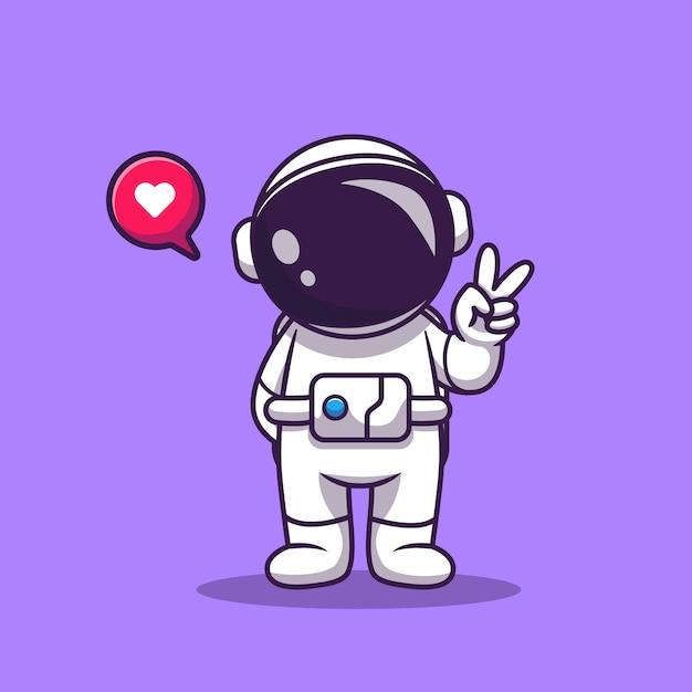 Netter astronaut mit hand-friedens-karikatur. raumfahrt-technologie-symbol-konzept isoliert. flacher cartoon-stil Kostenlosen Vektoren