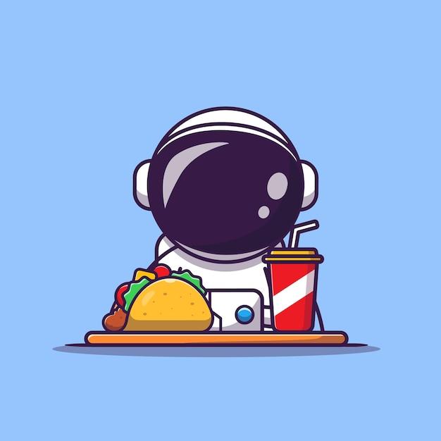 Netter astronaut mit taco und soda cartoon illustration. wissenschaftliches lebensmittel- und getränkekonzept. flacher cartoon-stil Kostenlosen Vektoren