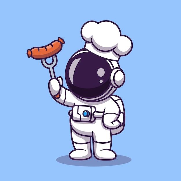 Netter astronautenkoch mit grillwurst-cartoon-illustration. wissenschaftliches lebensmittelkonzept. flacher cartoon-stil Kostenlosen Vektoren