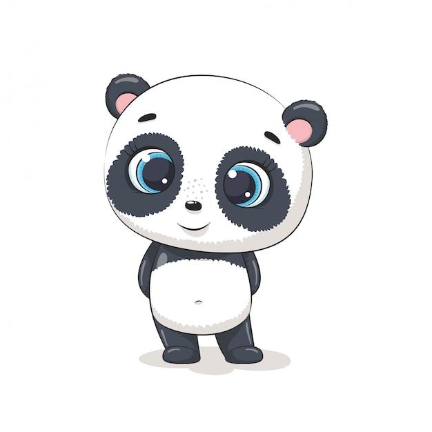 Netter baby panda. illustration für babyparty, grußkarte, partyeinladung, modekleidung t-shirt druck. Premium Vektoren