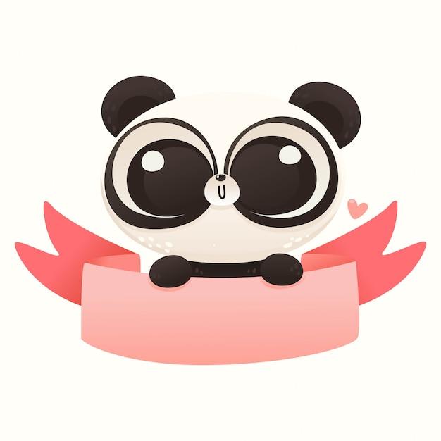 Netter baby-panda-valentinsgruß Premium Vektoren