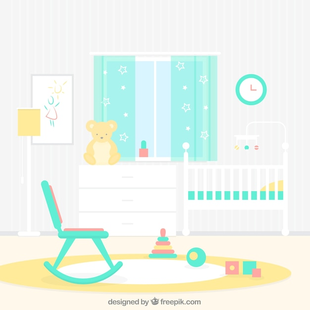 netter baby raum mit wippe download der kostenlosen vektor. Black Bedroom Furniture Sets. Home Design Ideas