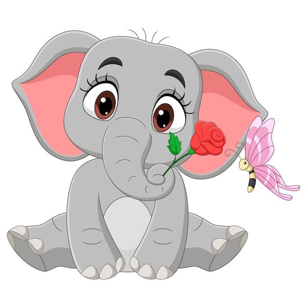 Netter babyelefant, der mit blumen und schmetterling sitzt Premium Vektoren