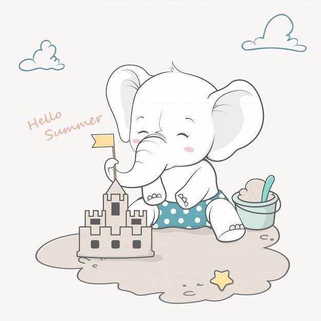 Netter babyelefant mit sandburghallo sommer Premium Vektoren