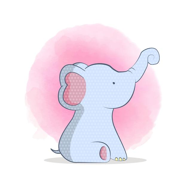 Netter babyelefant Premium Vektoren