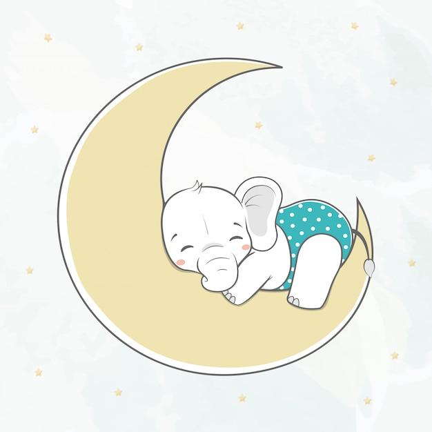 Netter babyelefantschlaf auf der mondwasserfarbkarikaturhand Premium Vektoren