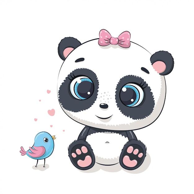 Netter babypanda mit vogel. illustration Premium Vektoren