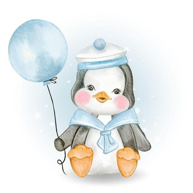 Netter babypinguin mit marineuniform, die ballon hält Premium Vektoren