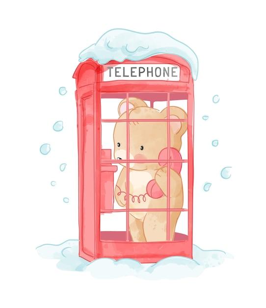 Netter bär in der verschneiten telefonzelle illustration Premium Vektoren