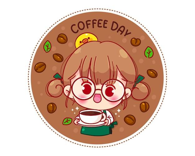 Netter barista in der schürze, die eine kaffeetasse-logo-karikaturcharakterillustration hält Kostenlosen Vektoren