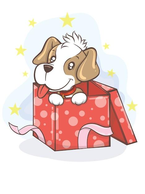 Netter beagle-welpe mit geschenkbox-karikaturcharakterillustration - frohe weihnachten Premium Vektoren