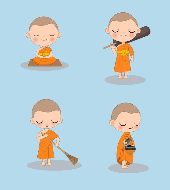 Netter buddhistischer mönch mit tätigkeiten einer vielzahl Premium Vektoren