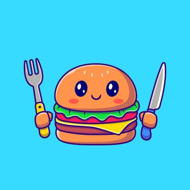 Netter burger, der messer und gabel-karikatur hält. fast-food-symbol-konzept isoliert. flacher cartoon-stil Kostenlosen Vektoren