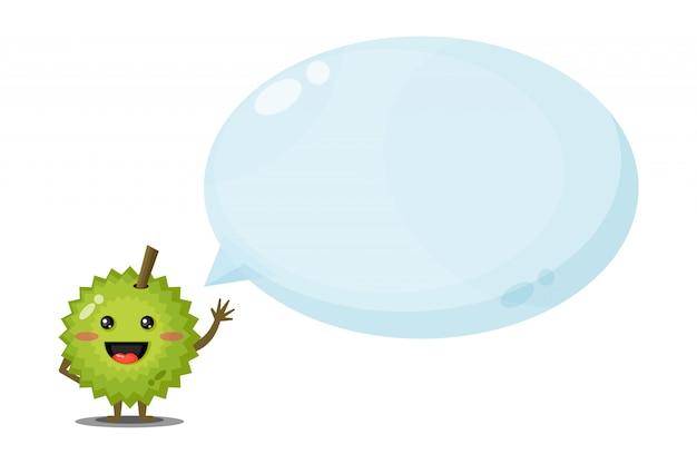 Netter charakter durian mit blasensprache Premium Vektoren