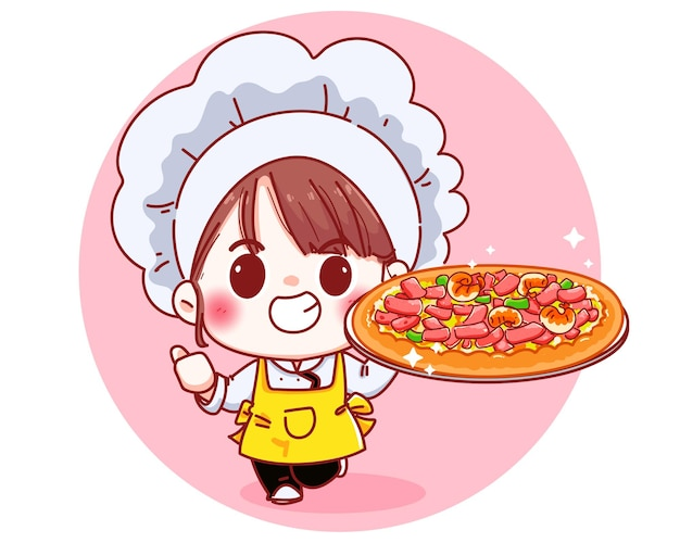 Netter chef, der eine pizza-karikaturillustration hält Kostenlosen Vektoren