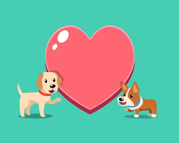 Netter corgihund und labrador-apportierhundhund mit großem herzen Premium Vektoren