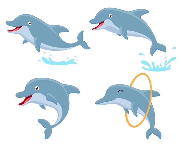 Netter delphinkarikatur-sammlungssatz Premium Vektoren