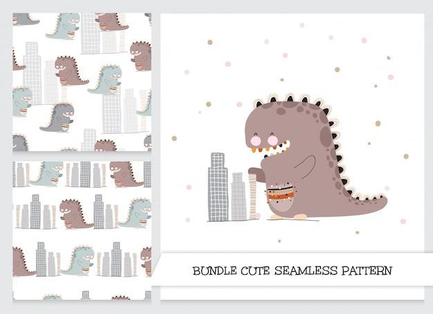 Netter dinosaurier-briefpapiersatz Premium Vektoren