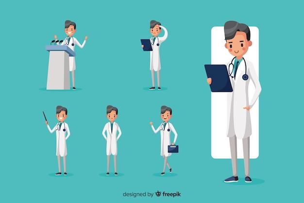 Netter doktor, der verschiedene aktionen tut Kostenlosen Vektoren